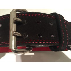 Leather belt black with red embroidery